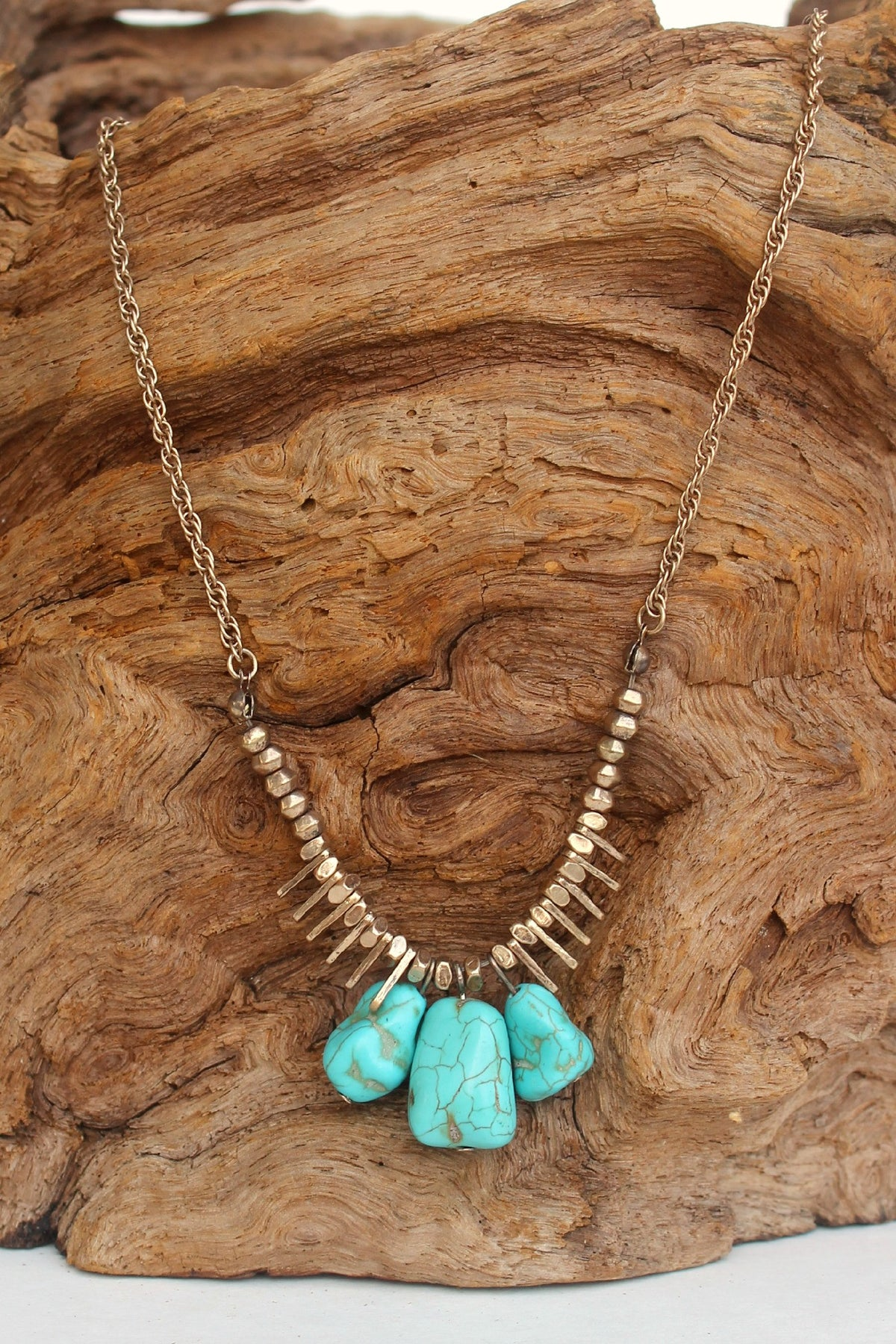 Nugget and Metal Bars Link Necklace, Turquoise