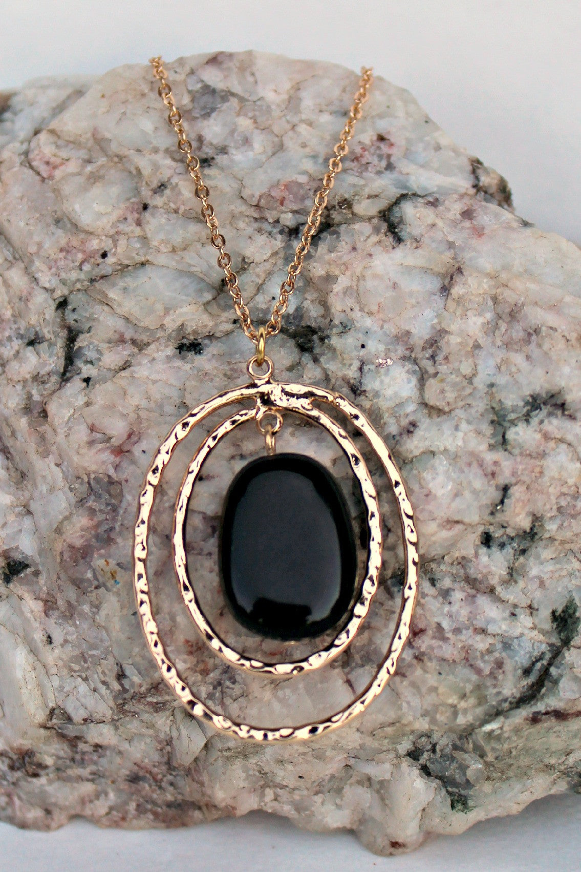 Double Oval Onyx Necklace, Black
