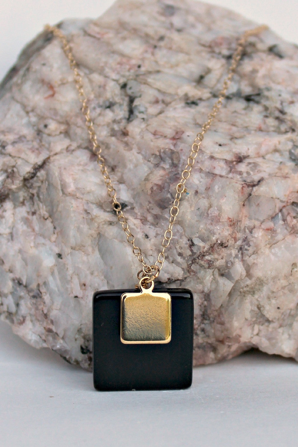 Flat Double Square Pendant Necklace, Black