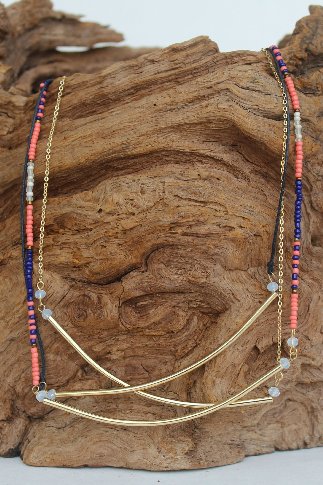 Three Strand Balance Bars and Beads Necklace, Orange