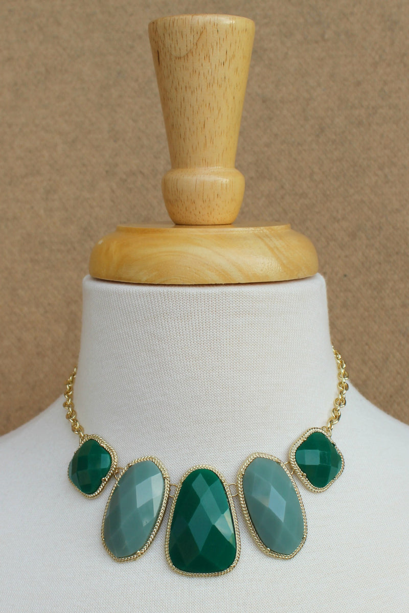 Geometric Faceted Necklace, Green