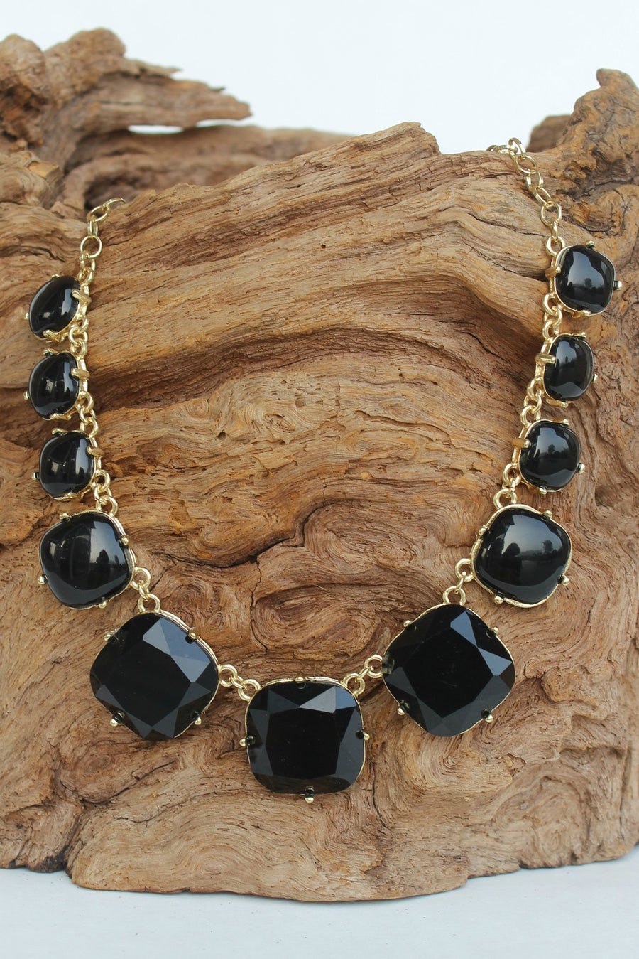 Square Bead Prong Necklace, Black