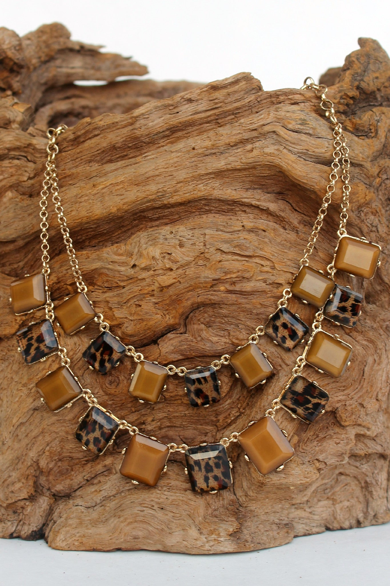 Animal Print Beaded Necklace, Brown