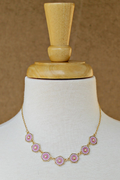 Hexagon Pearl and Bead Necklace, Pink