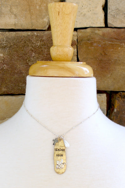 Isaiah 40:31 Necklace, Gold