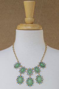 Oval Cabochon Beads Statement Necklace, Lime