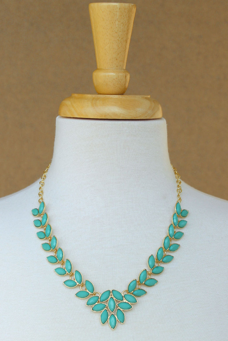 Multi Marquise Beaded Necklace, Mint