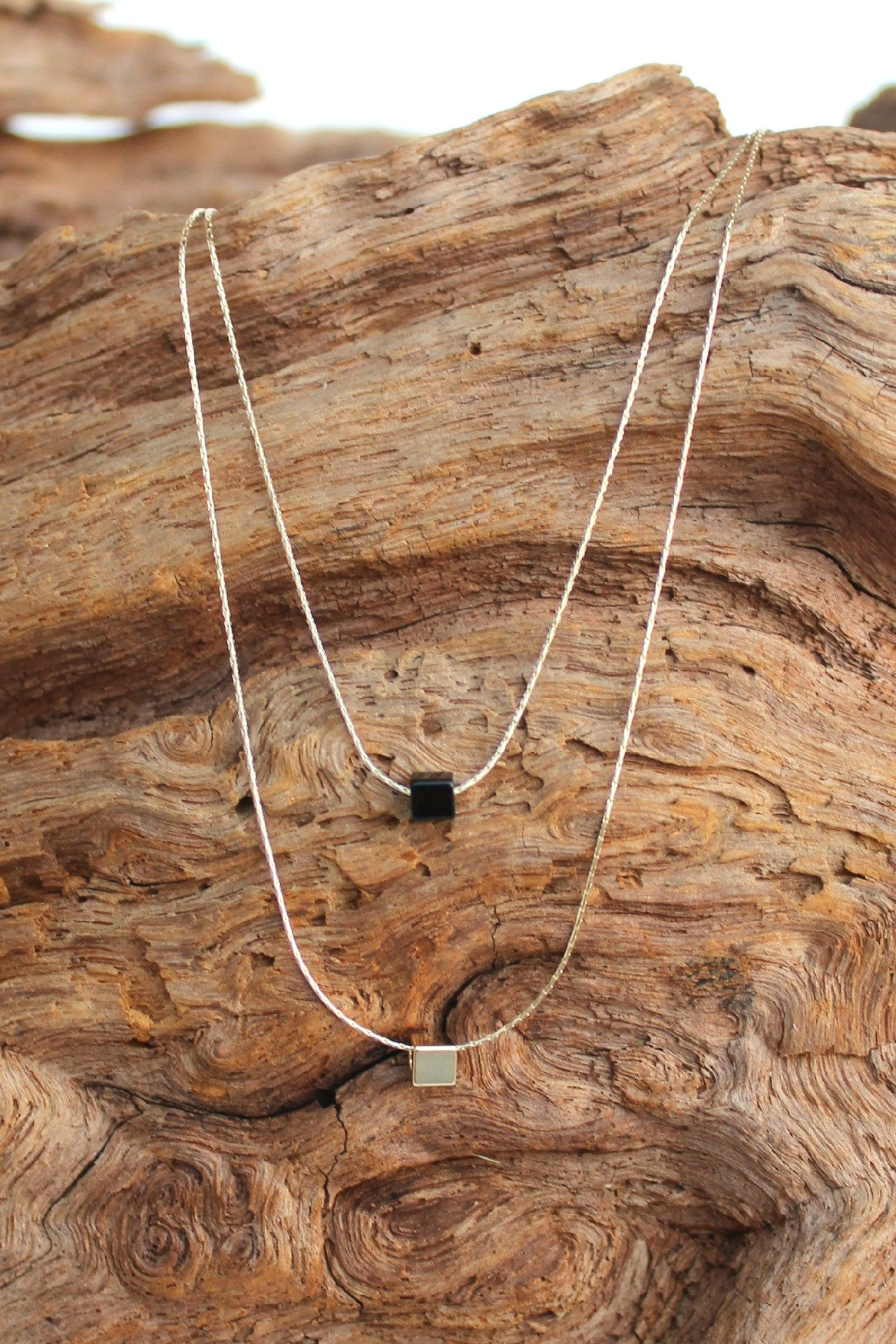 Layered Two Row Cubed Necklace, Black