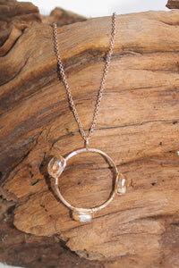 Wire Circle and Wrapped Stone Necklace, Gold