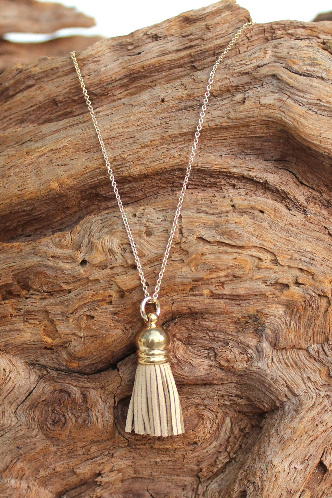 Leather Tassel Necklace, Beige