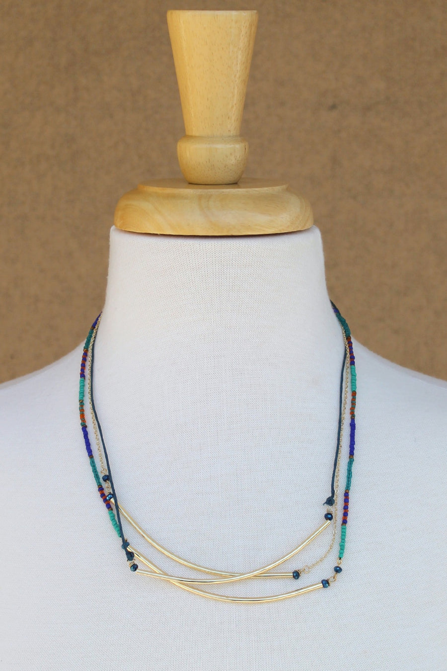 Three Strand Balance Bars and Beads Necklace, Multi