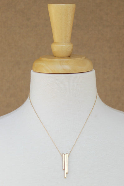 Sliding Three Metal Bar Necklace, Gold