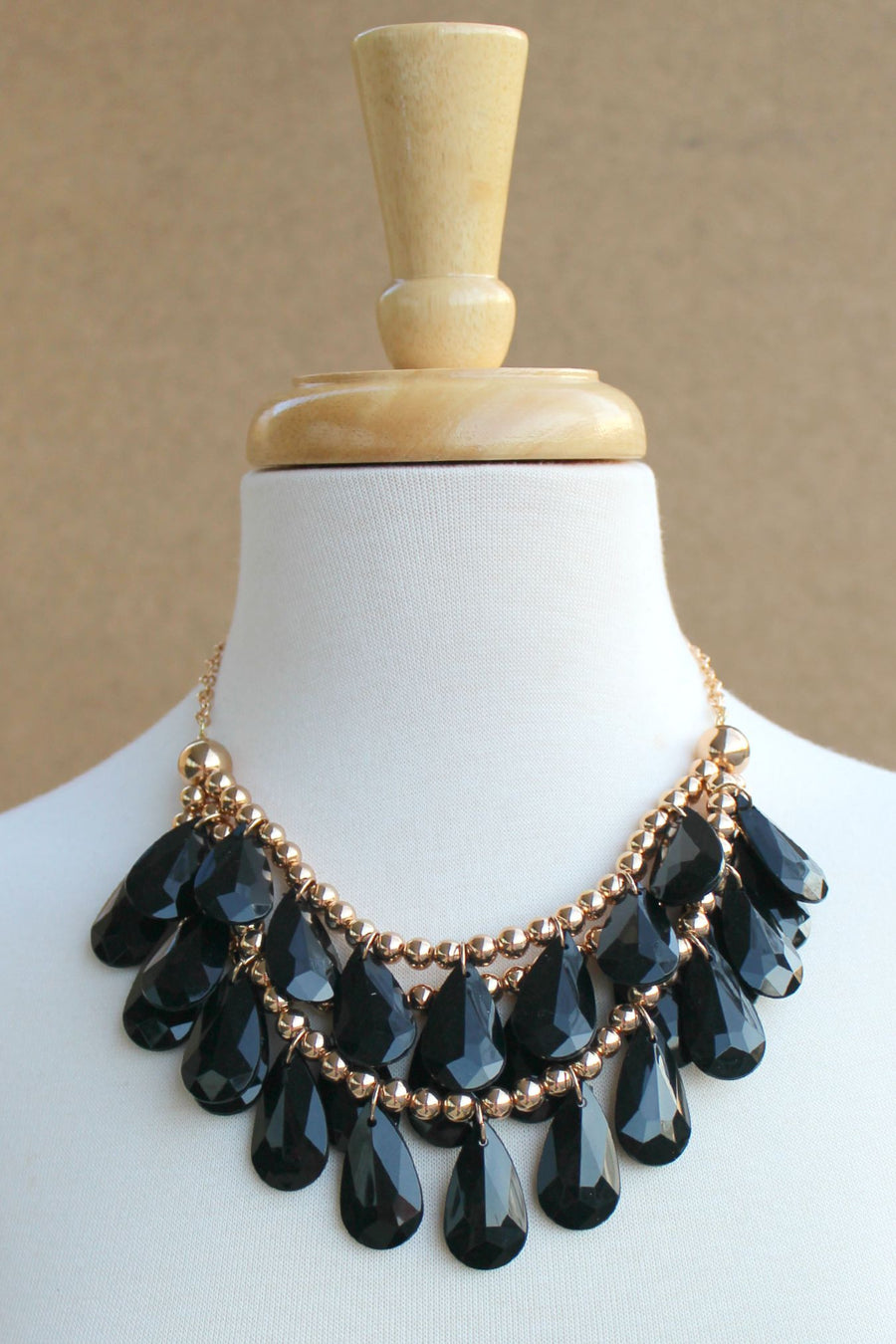 Three Layered Teardrop Statement Necklace, Black