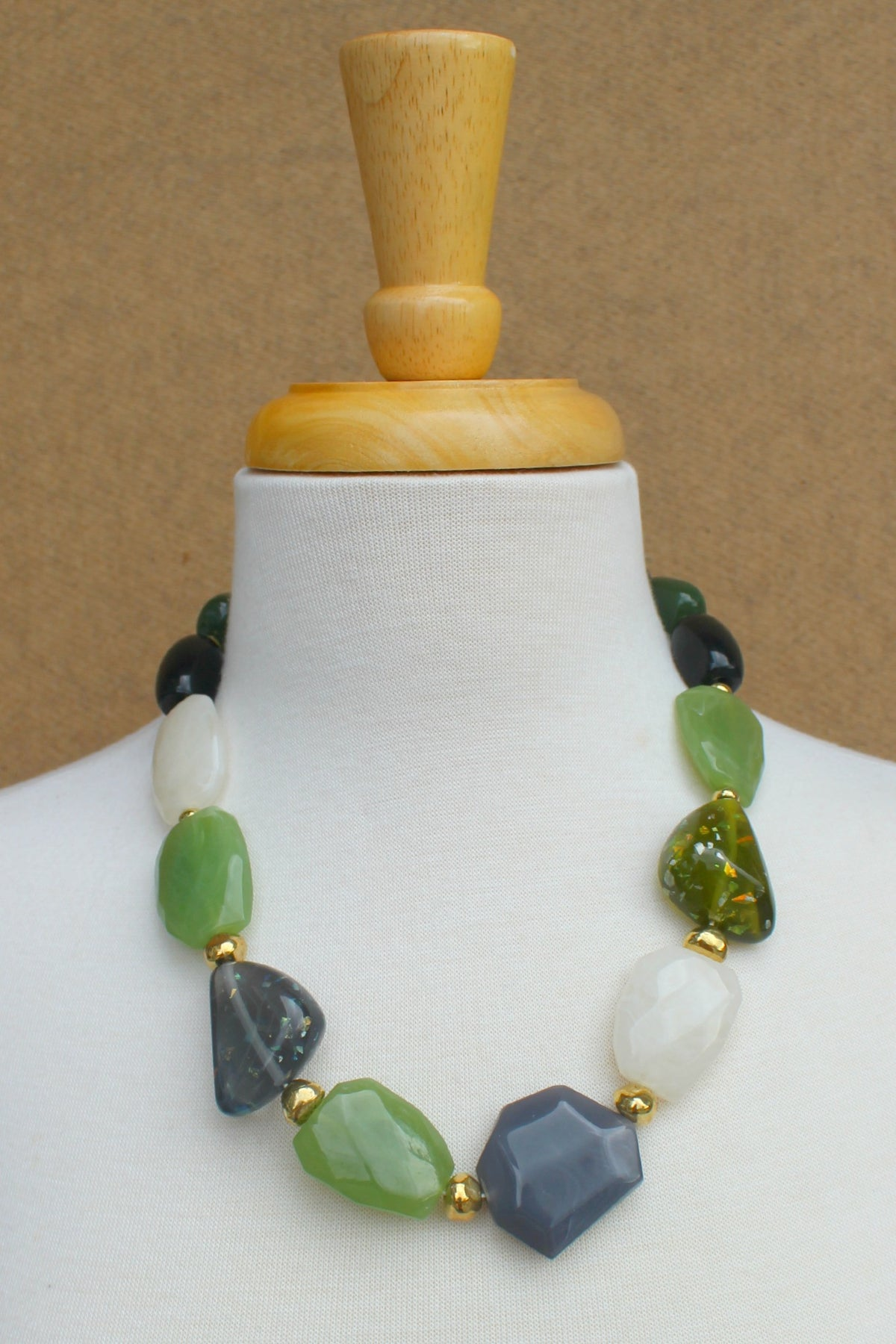 Chunky Beaded Necklace, Green