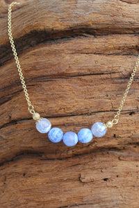 Swirl Bead Necklace, Blue