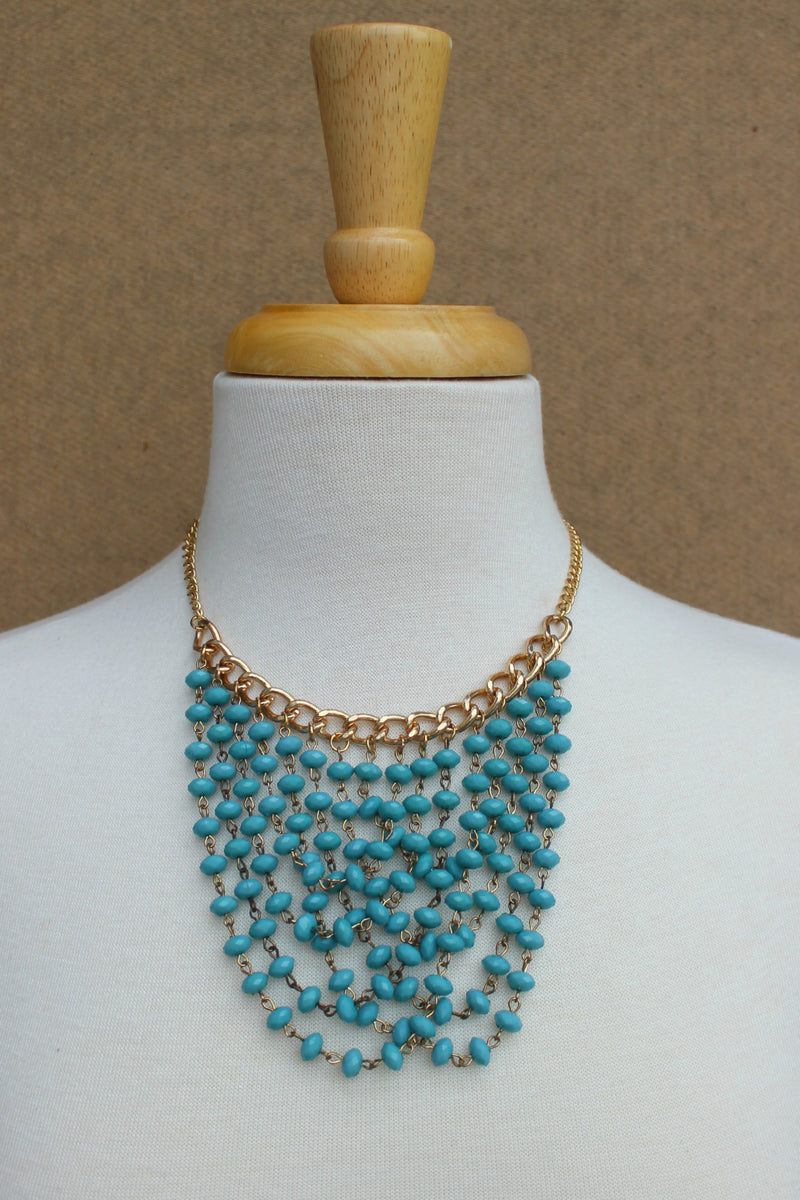 Beaded Bib Necklace, Turquoise