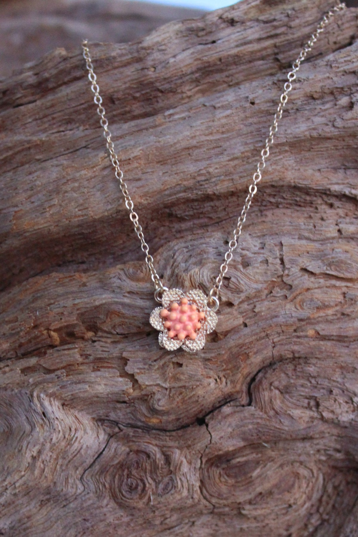 Delicate Flower Necklace, Orange