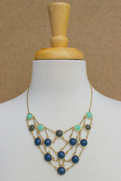 Beaded Net Necklace - Royal