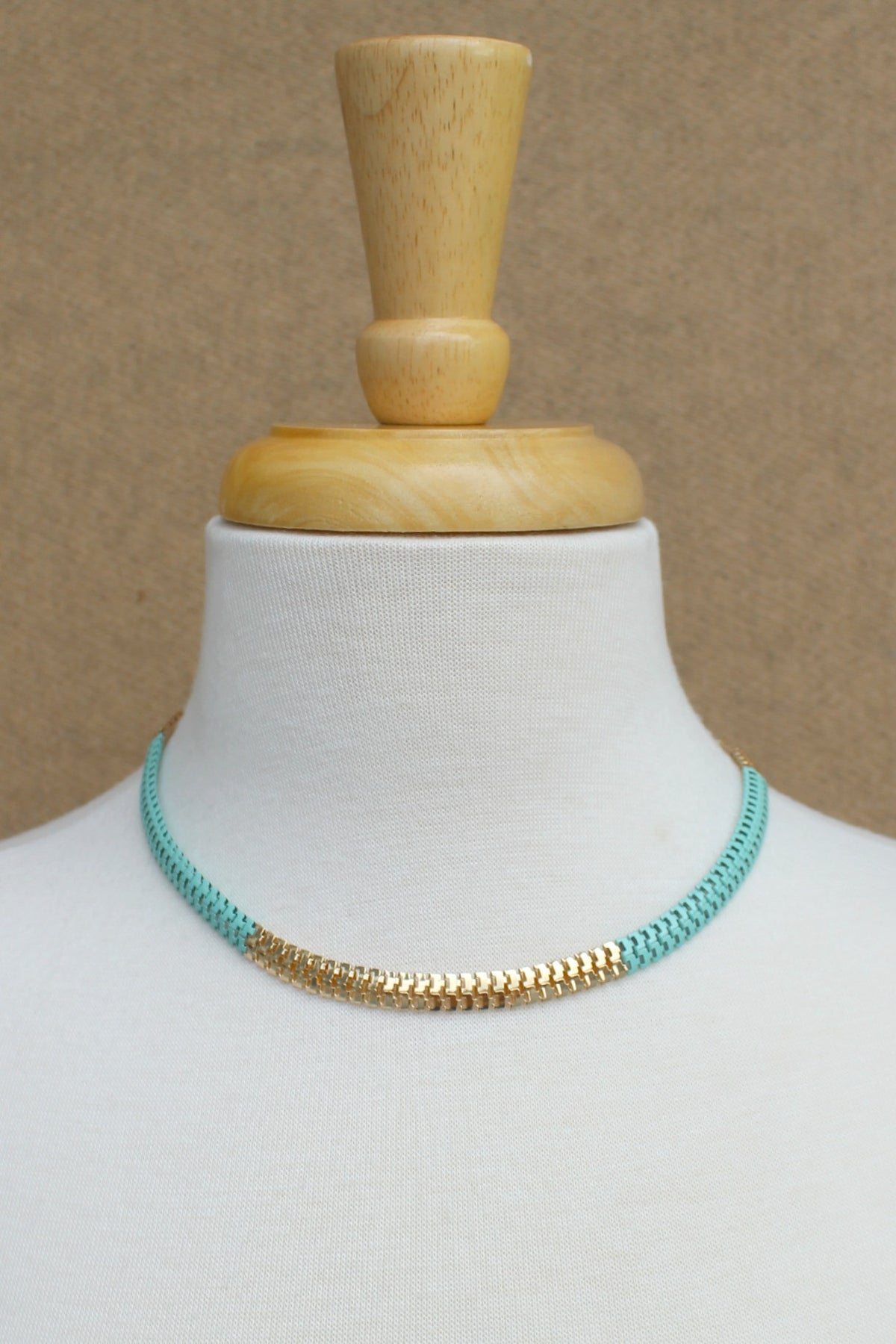 Colorblock Serpentine Necklace, Turquoise