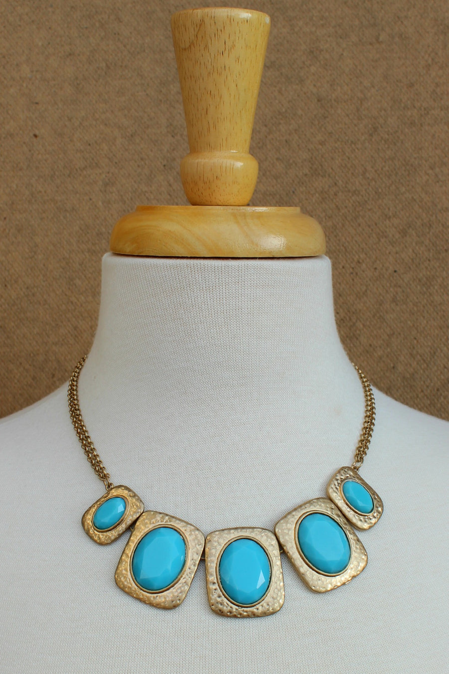 Inlaid Oval Necklace - Baby Blue