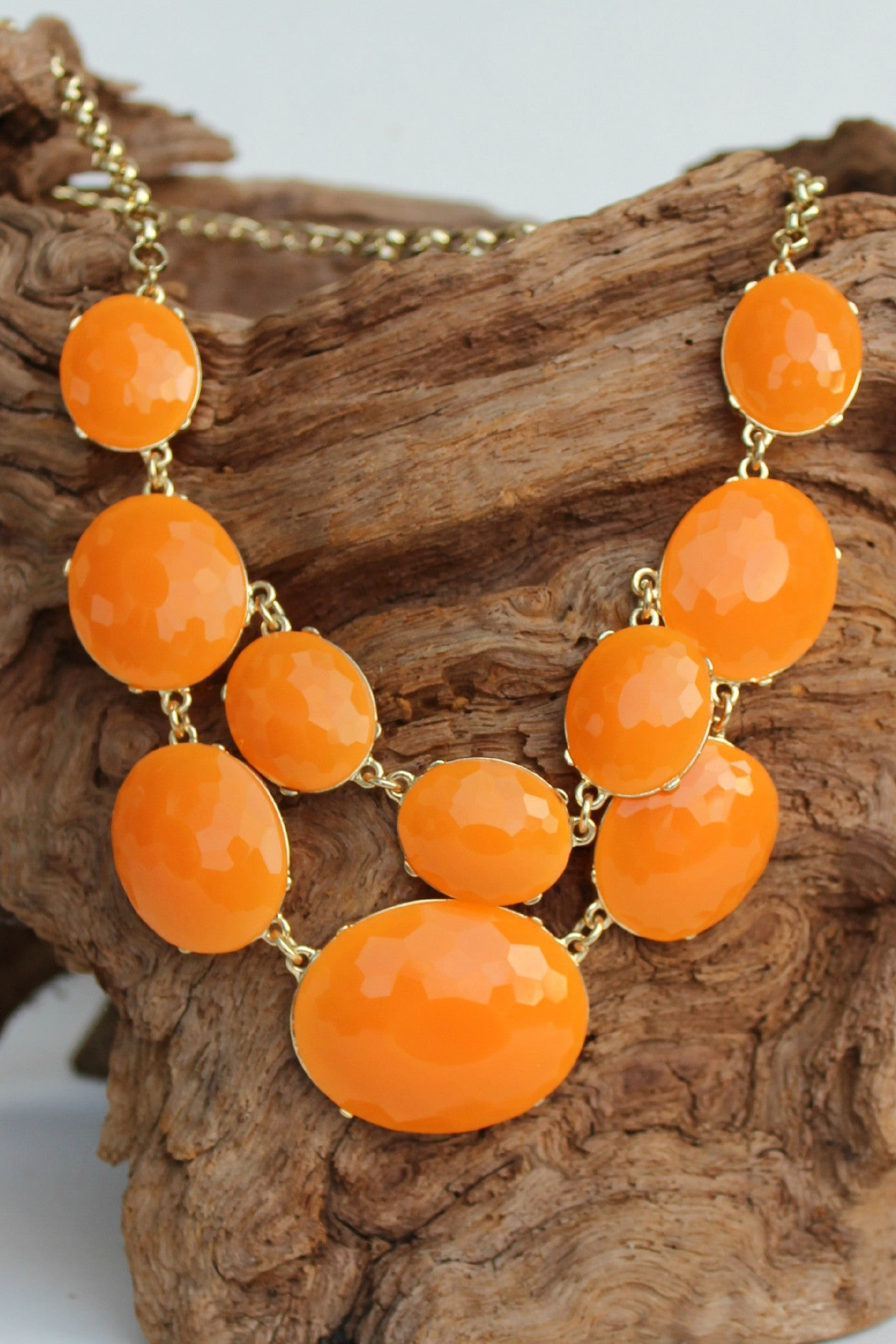 Oval Beaded Bib Necklace, Orange