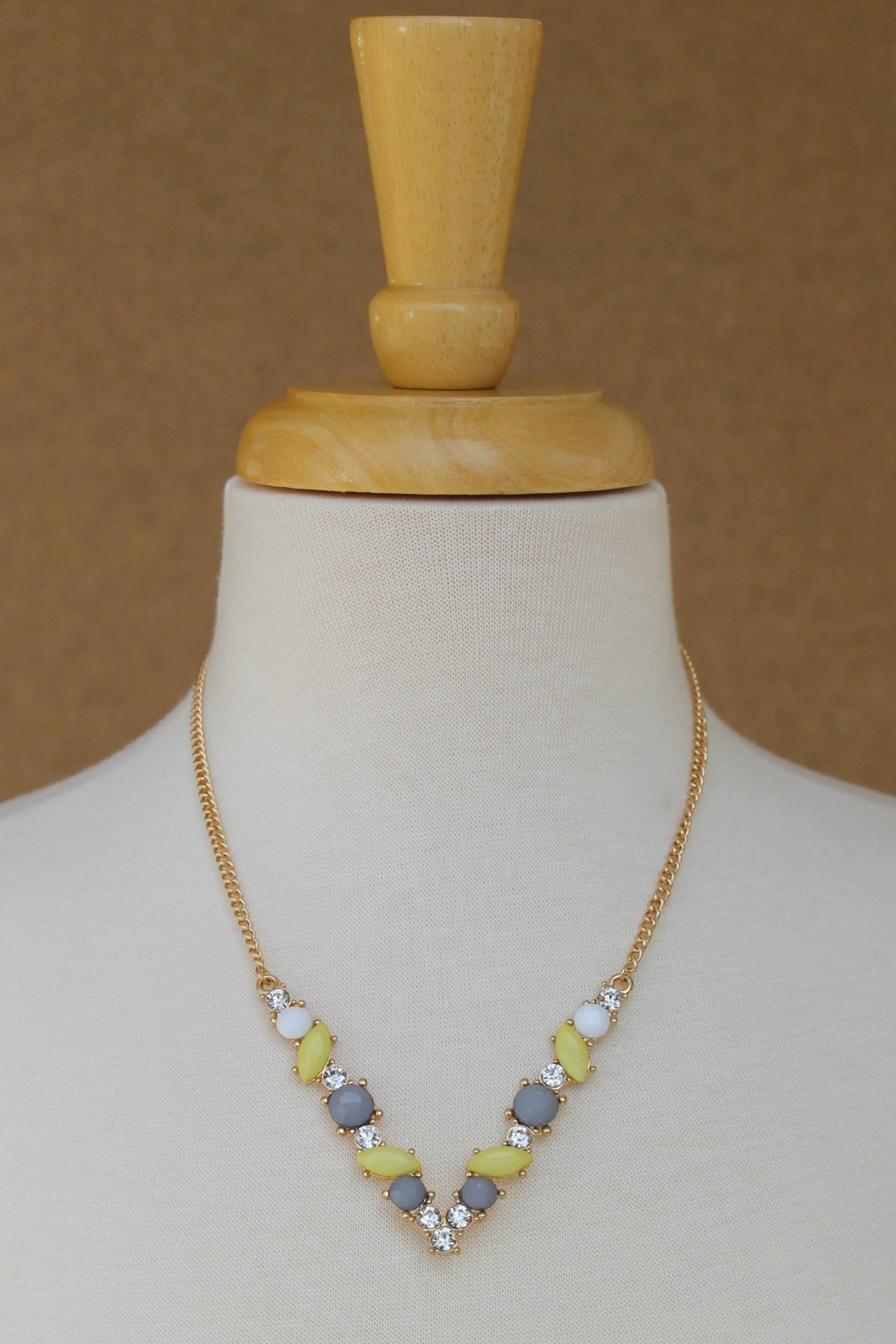 Beaded V Necklace, Yellow
