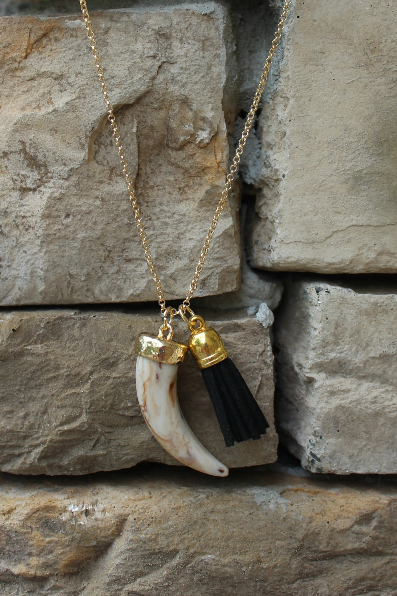 Horn and Tassel Necklace, Black