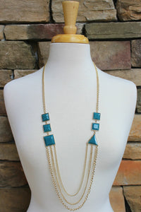 Shapes Necklace, Blue
