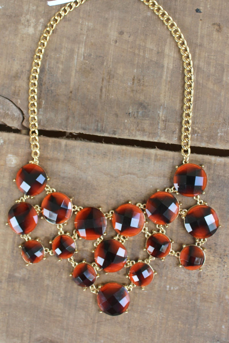 Triple Layer Bib Necklace, Tortoise