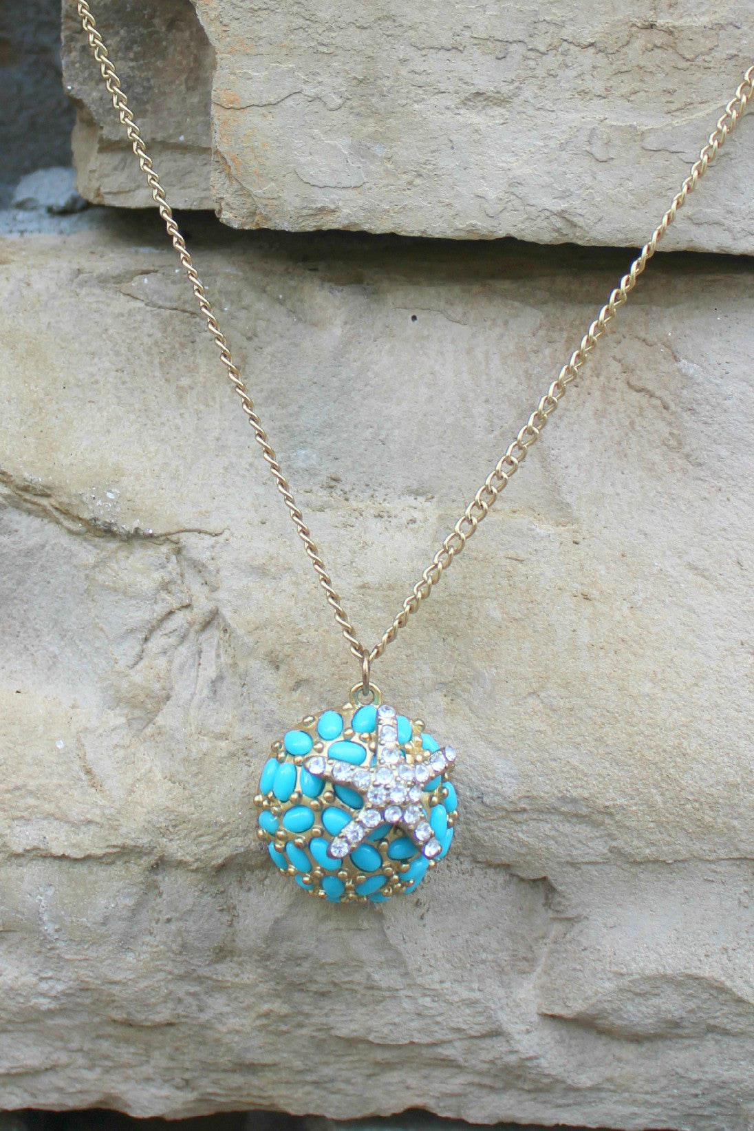 Crystal Starfish Necklace, Turquoise