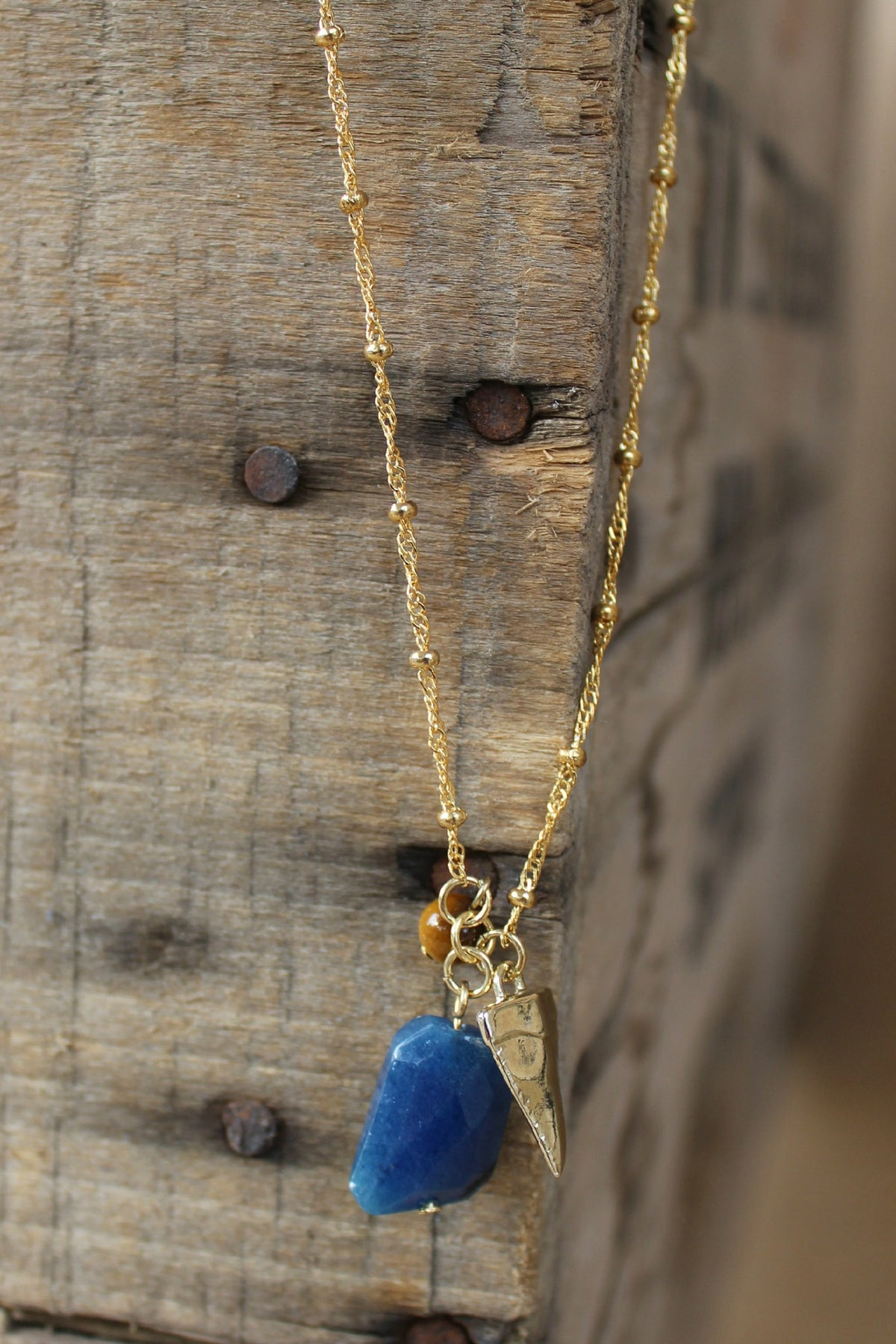 Triple Charm Necklace, Blue
