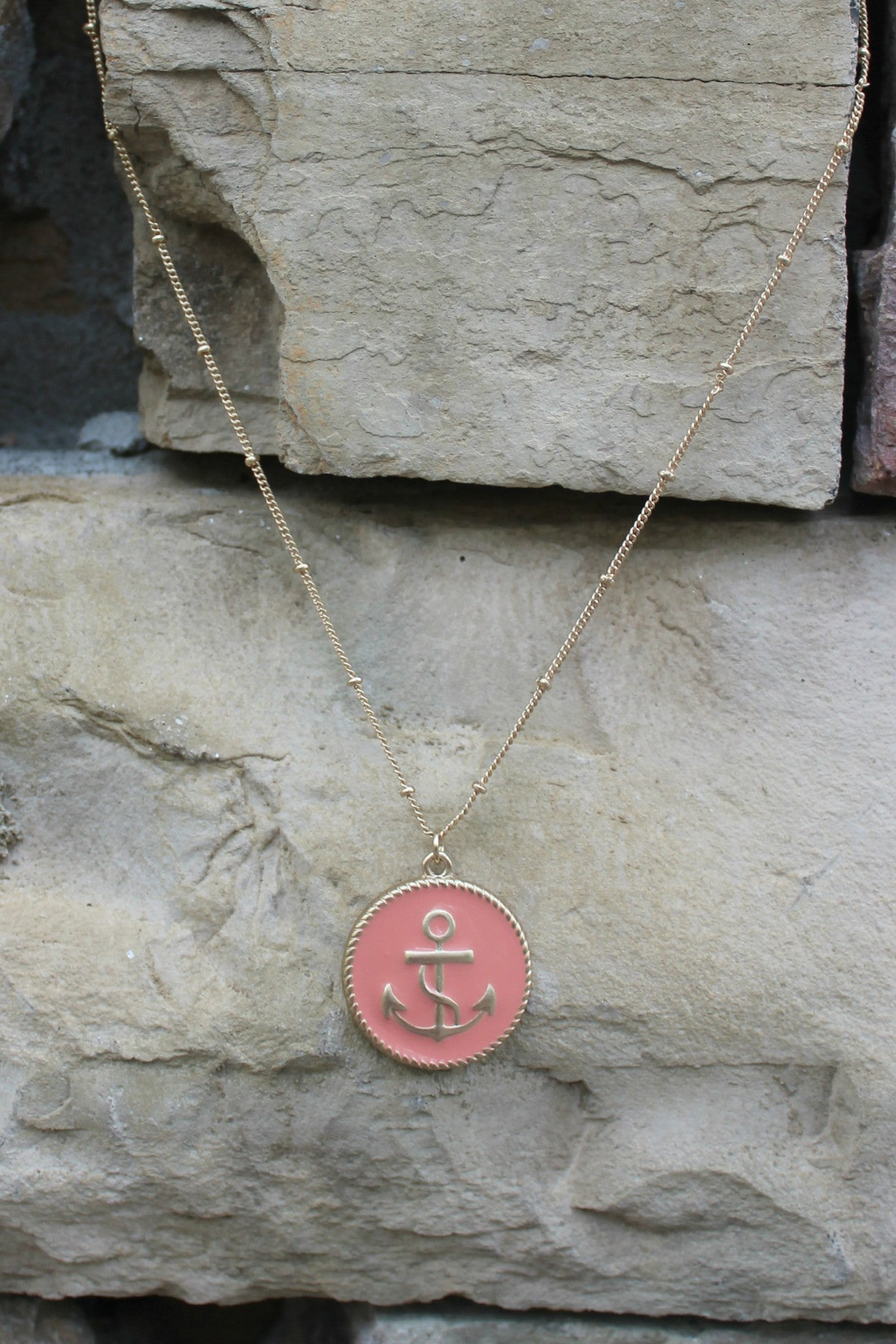 Anchor Disc Necklace, Pink
