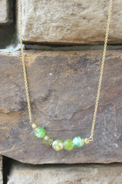 Swirl Bead Necklace, Green
