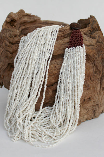 Multi Strand Beaded Necklace, White