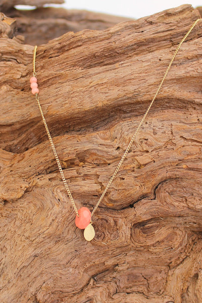 Gold Leaf Necklace, Coral