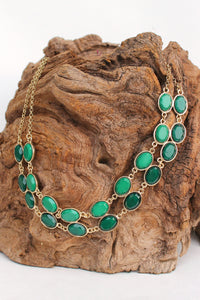Double Beaded Necklace, Green