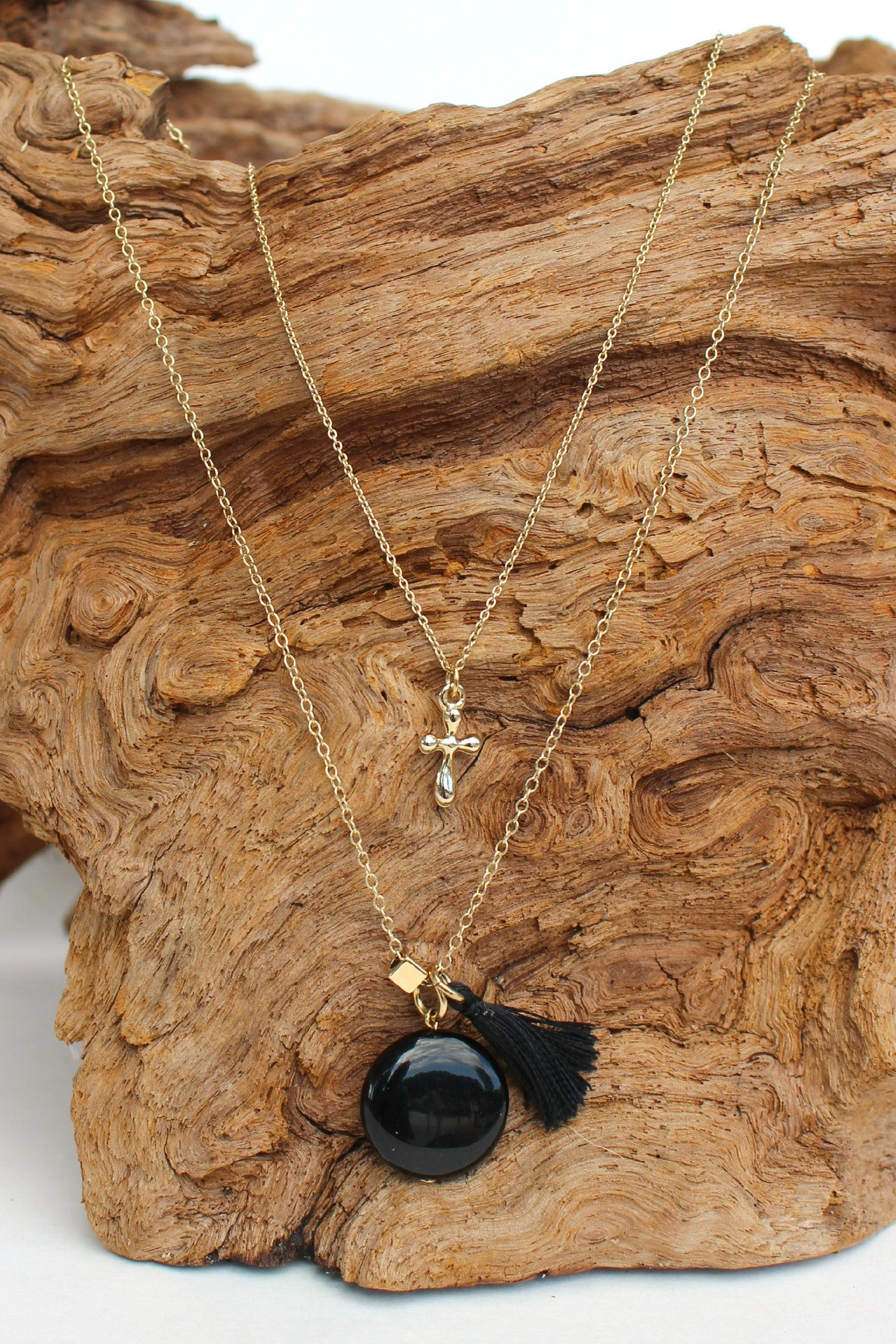 Triple Charm Necklace, Black