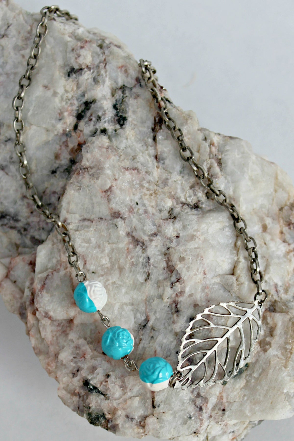 Dawna Lee Jewelry: Leaf Necklace, Blue/White