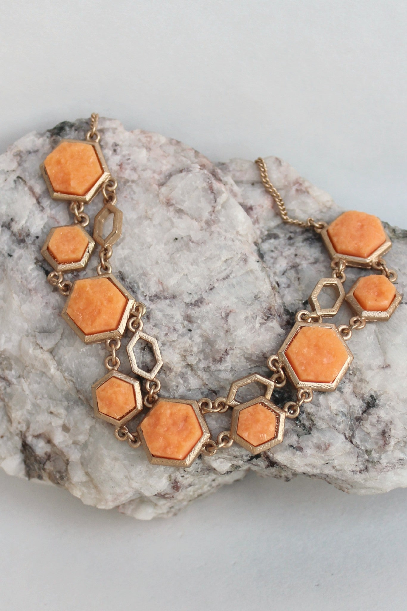 Double Hexagonal Necklace, Orange