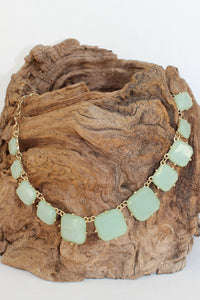 Graduated Square Beaded Necklace, Seafoam