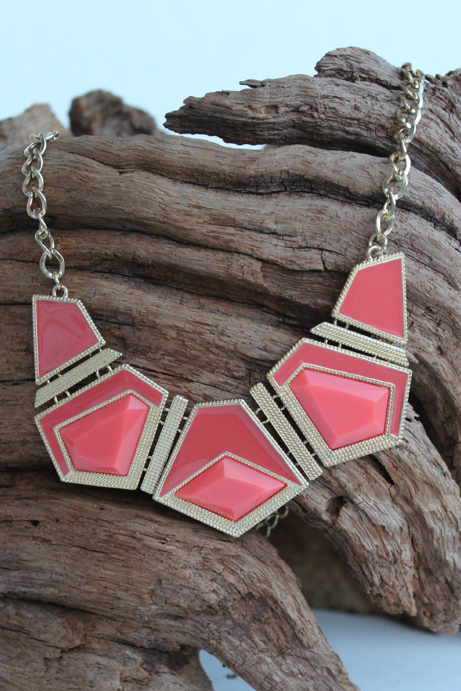 Geometric Acrylic Necklace, Corals