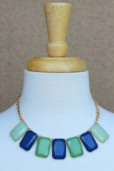 Tri Color Rectangle Necklace, Blue and Green
