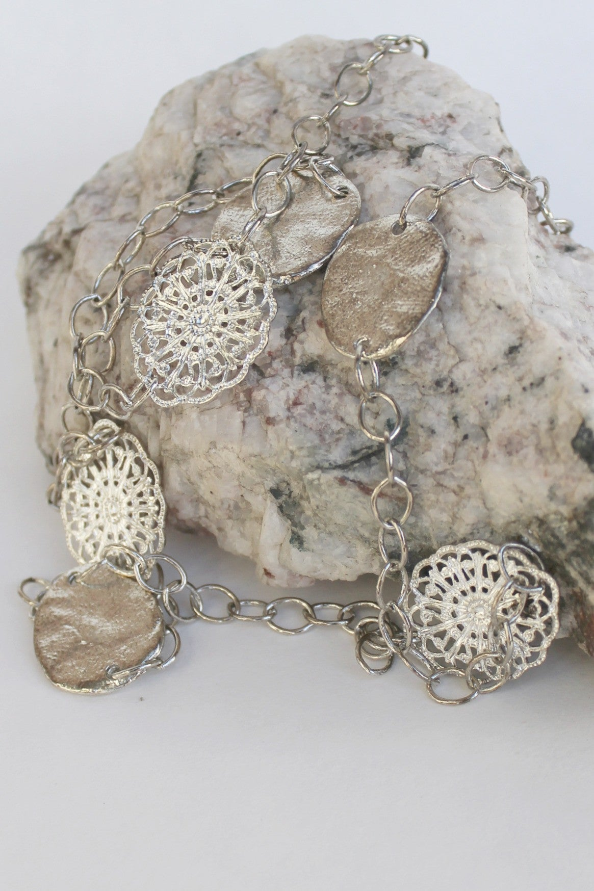 Susan Shaw Handcast Filigree Necklace, Silver