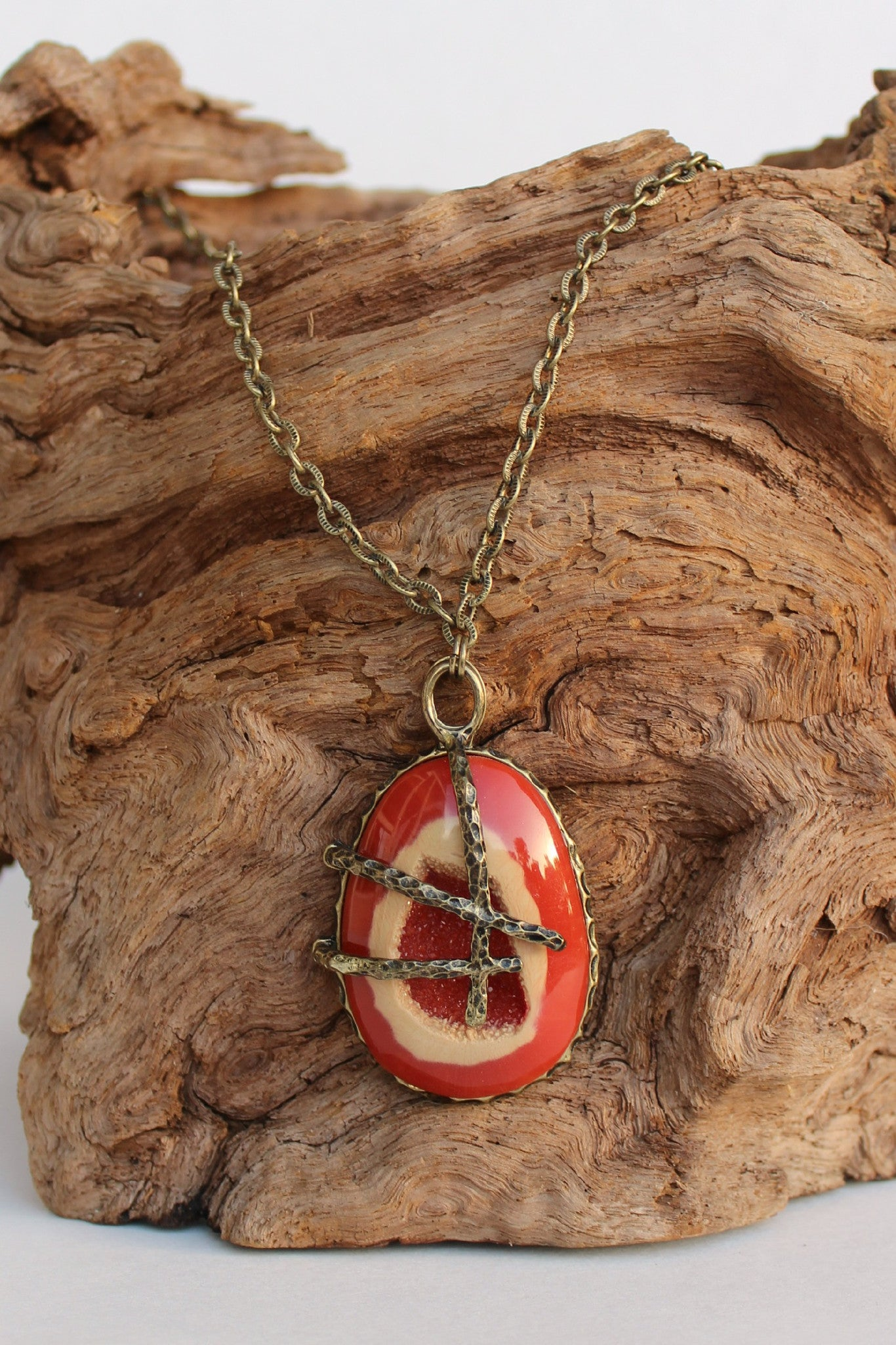 Two Toned Pendant Necklace, Coral