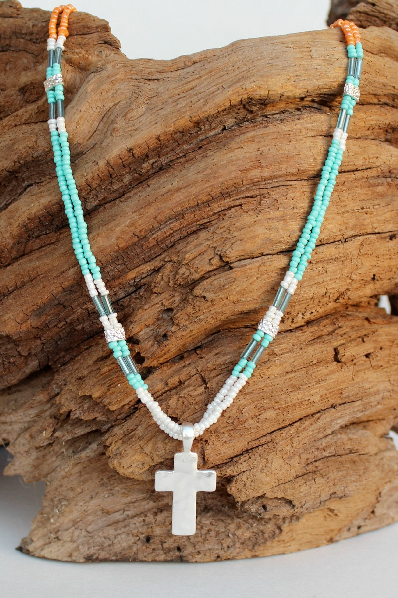 Colorblock Seed Bead Cross Necklace, Turquoise