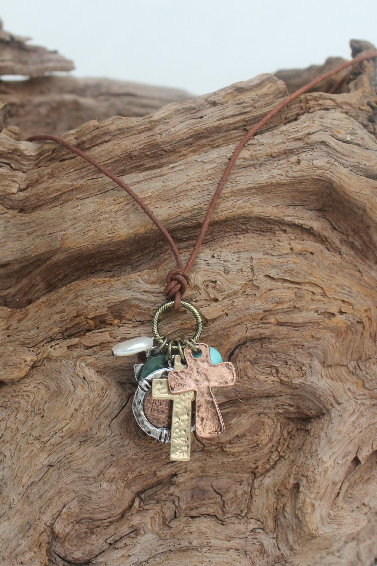 Crosses and Charms Necklace, Copper