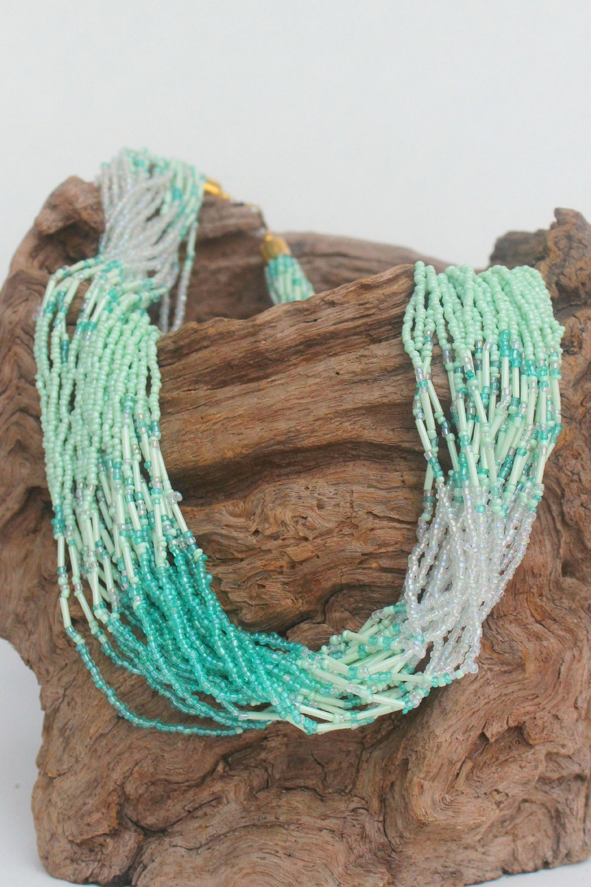 Multi Strand Beaded Necklace, Sea Green