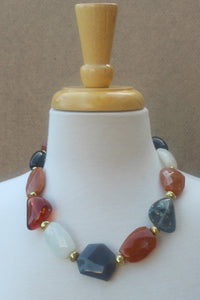 Chunky Beaded Necklace, Rust