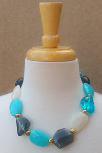 Chunky Beaded Necklace, Blue