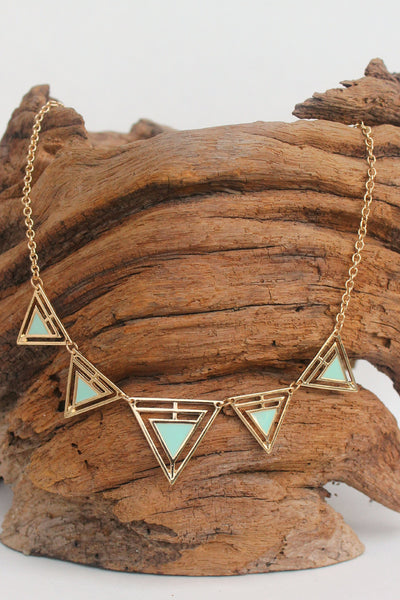 Gold Framed Triangle Necklace, Mint